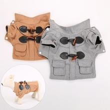 England Style Buckles Dog Puppy Cat Warm Winter Spring Overalls Coat Jacket Pet Clothing Clothes Supplies