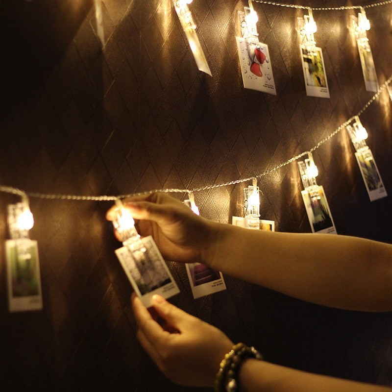 Ins 1.5/3/6M LED Garland Card Photo Clip Lamp Warm LED String Lights Battery Operated For Wedding Valentines Bedroom Decoration