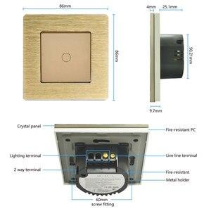 Image 5 - Bingobic الاتحاد الأوروبي/المملكة المتحدة القياسية 1 عصابة 1 طريقة اللمس التبديل ، الفضة إضاءة معدنية التبديل ، AC110 250V ، 86*86 مللي متر