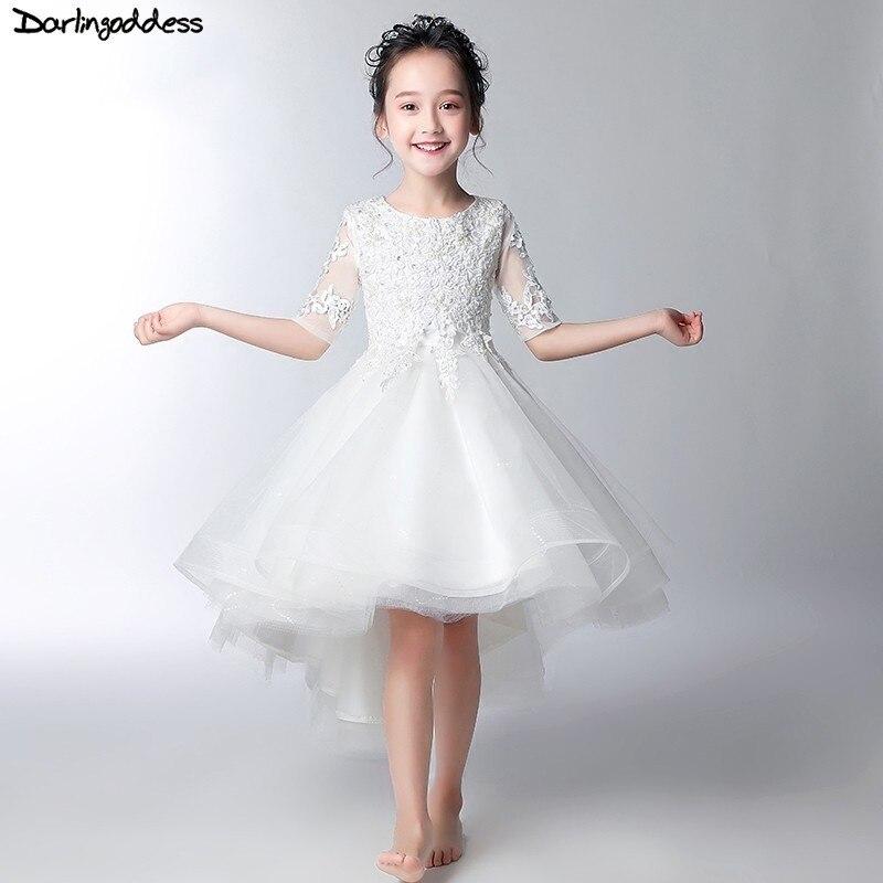 Luxury Flower Girl Dresses for Weddings Short Front Long Back White Pageant Dresses for Girls Robe De Communion Fille Blanche