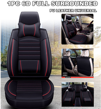 Universal 1 Piece 6D Full Surrounded Car Front Seat Cover PU Leather Breathable Cushion Pad