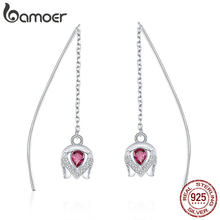 BAMOER Real 925 Sterling Silver Romantic Tulip Flower Shape Drop Earrings for Women Pink CZ Sterling Silver Jewelry SCE504(China)