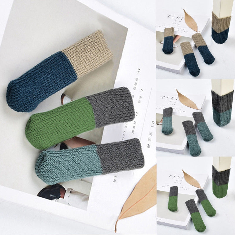 4pc/Set Table Chair Foot Leg Knit Socks Cover Pads Floor Protector Home Decor