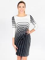 Woman Fashion stripe print side defined waist matching classic dress