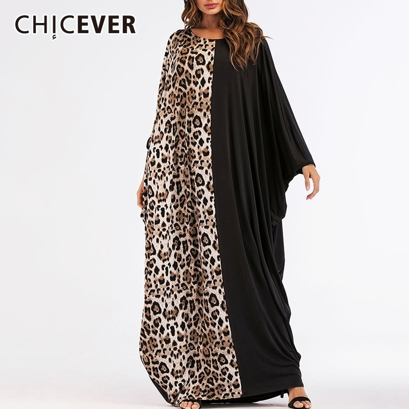 CHICEVER Patchwork Leopard Dress Female O Neck Batwing Long Dress Loose Oversize Hit Colors Knitting Dresses Fashion Clothes New