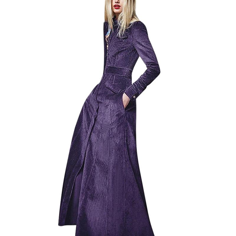 clothes women outwear runway 2019 fall winter woman corduroy  purple coat flap pockets a line long sleeve maxi trench coatTrench   -