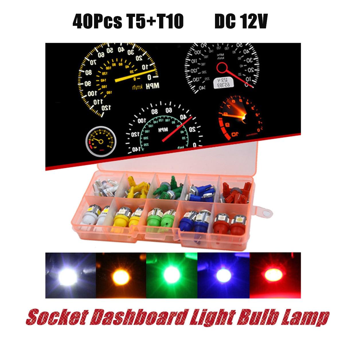 Dc12v 40pcs Car T5 T10 Car Interior Led Instrument Panel