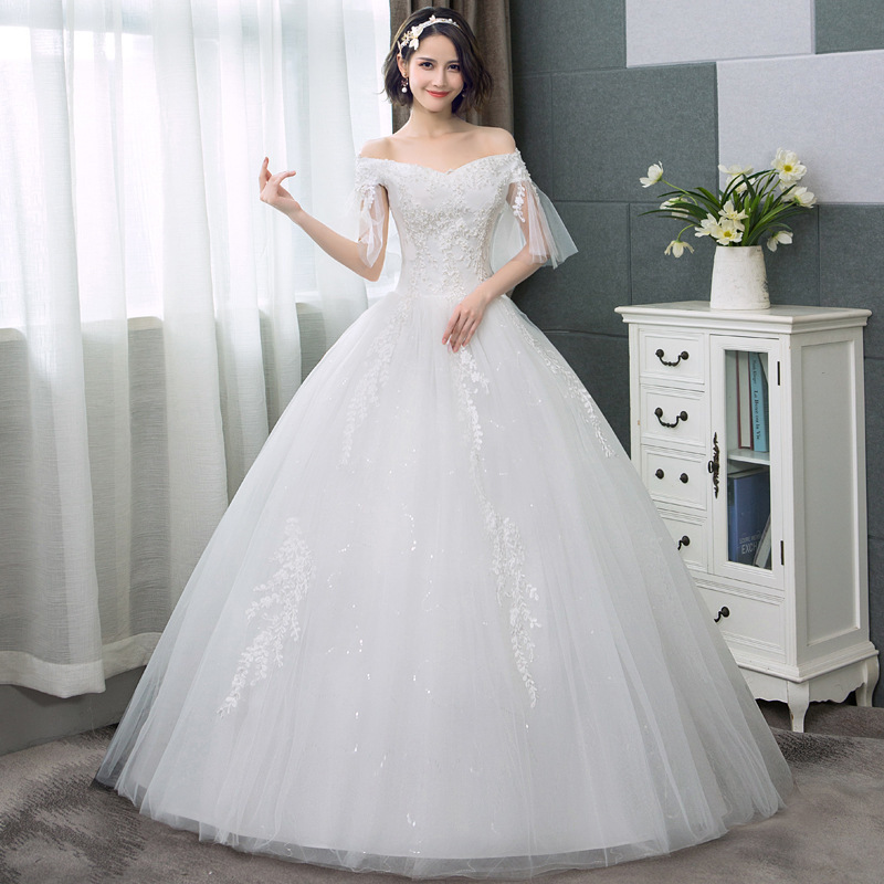 Jeweled Ball Gown Wedding Dresses: Sparkle Beaded Wedding Dresses Tulle Boat Neck Lace Up