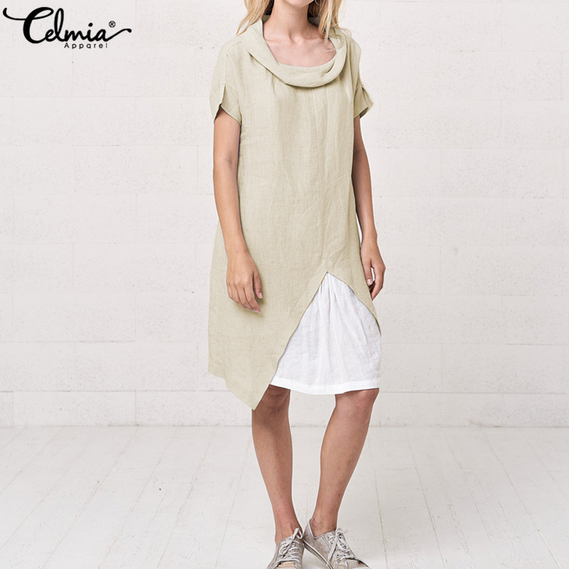 Celmia Plus Size Sundress Vintage Women Shirt Dresses 2019 Summer Short Sleeve Patchwork Loose Casual Knee-length Vestidos Mujer