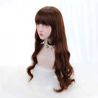 Lange Gewellte Perücke Synthetische Haar Braun Lolita Perücken mit Pony Stumpfen Kostüm Perücken für Frauen Hollywood Weibliche Party