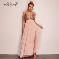 Mesh Split Graduation Dresses Tulle Sequined Long special occasion Dress Women Party Sexy Elegant V Neck Homecoming Dresses