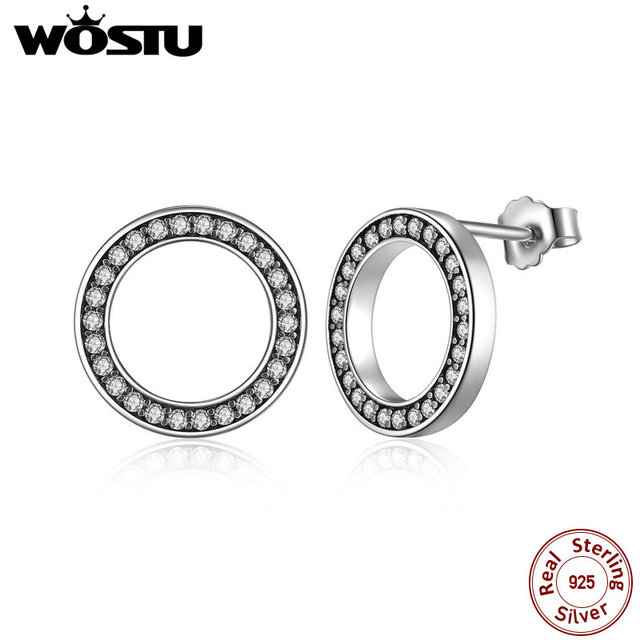 WOSTU Hot Moda 100% 925 Sterling Silver Sorte Para Sempre Circular Brincos Do Parafuso Prisioneiro Para As Mulheres Autêntico e Original Do Presente Da Jóia