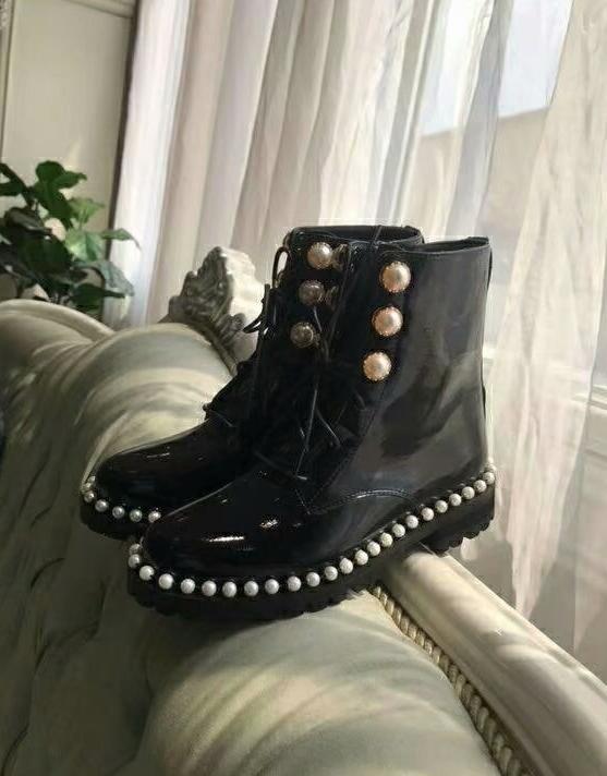 Patent Frau Perle Verschönert up Designer Dipsloot Leder Lace Schuhe Kappe Runde Neue Ankle Heels Dame Marke Mädchen Stiefel 1qRdwUa