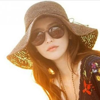 Verano Topee de moda de las mujeres de ala ancha trenza de paja sombrero de sol  anti-ultravioleta playa tapa Suncare  2 7b303680f63e
