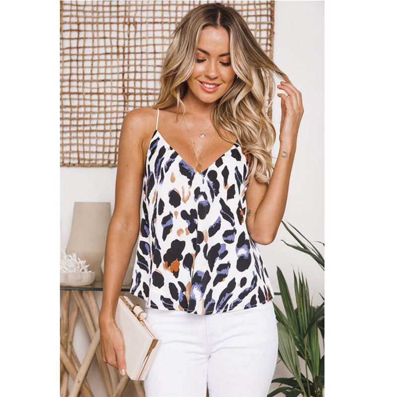 Meihuida Sleeveless Women Tank Printed Leopard Sexy V-Neck Dropship Girls Fashion-Style