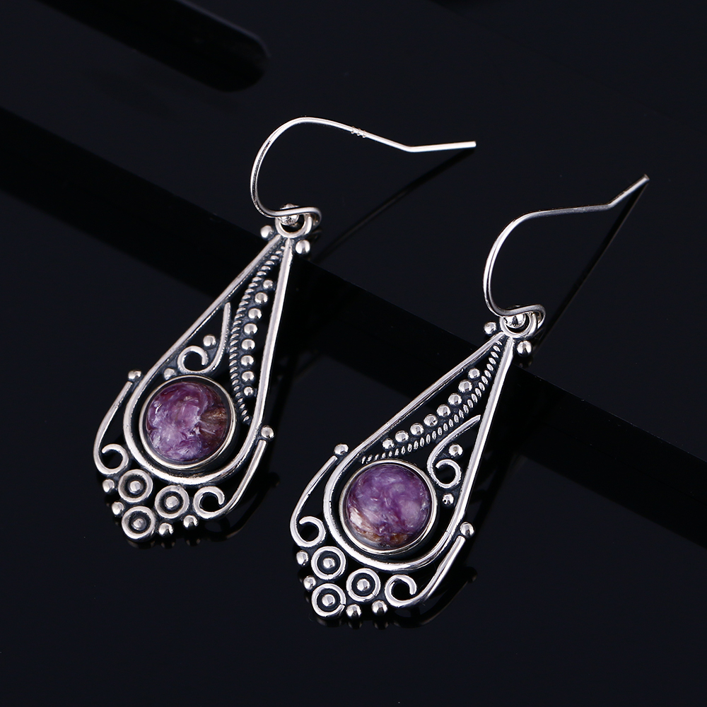 Women 39 s 925 Sterling Silver Earrings 7MM Round Natural Purple Dragon Crystal Bohemian Style Pendant Earrings Gift Wholesale in Earrings from Jewelry amp Accessories