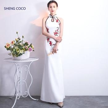 Women Halter Qipao Dresses Evening Long Strapless Mermaid Cheongsam Sequin Rhinestone Sparkly Fashion Temperament Chinese Dress