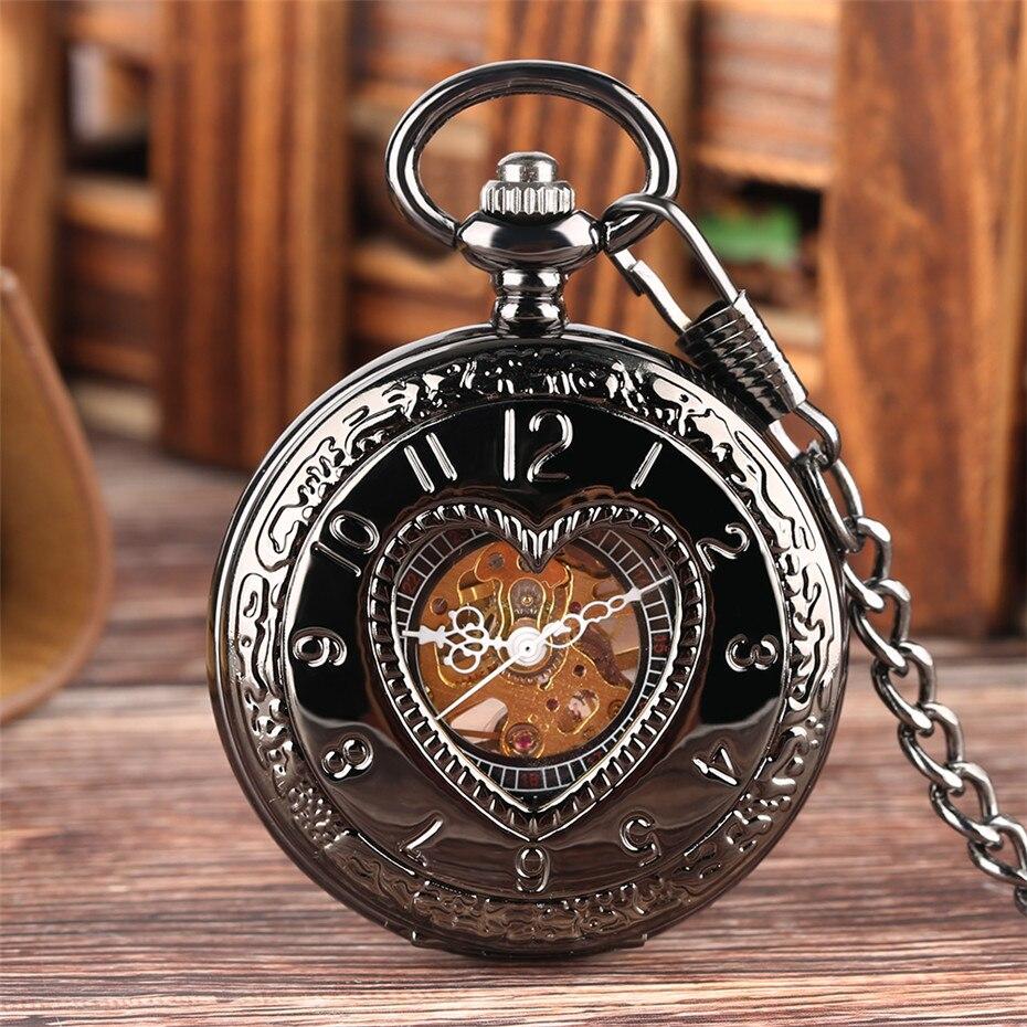 Retro Black Heart Shape Half Hunter Mechanical Pocket Watch Steampunk 30 Cm Chain Pocket Pendant Clock Gift Men Women Reloj