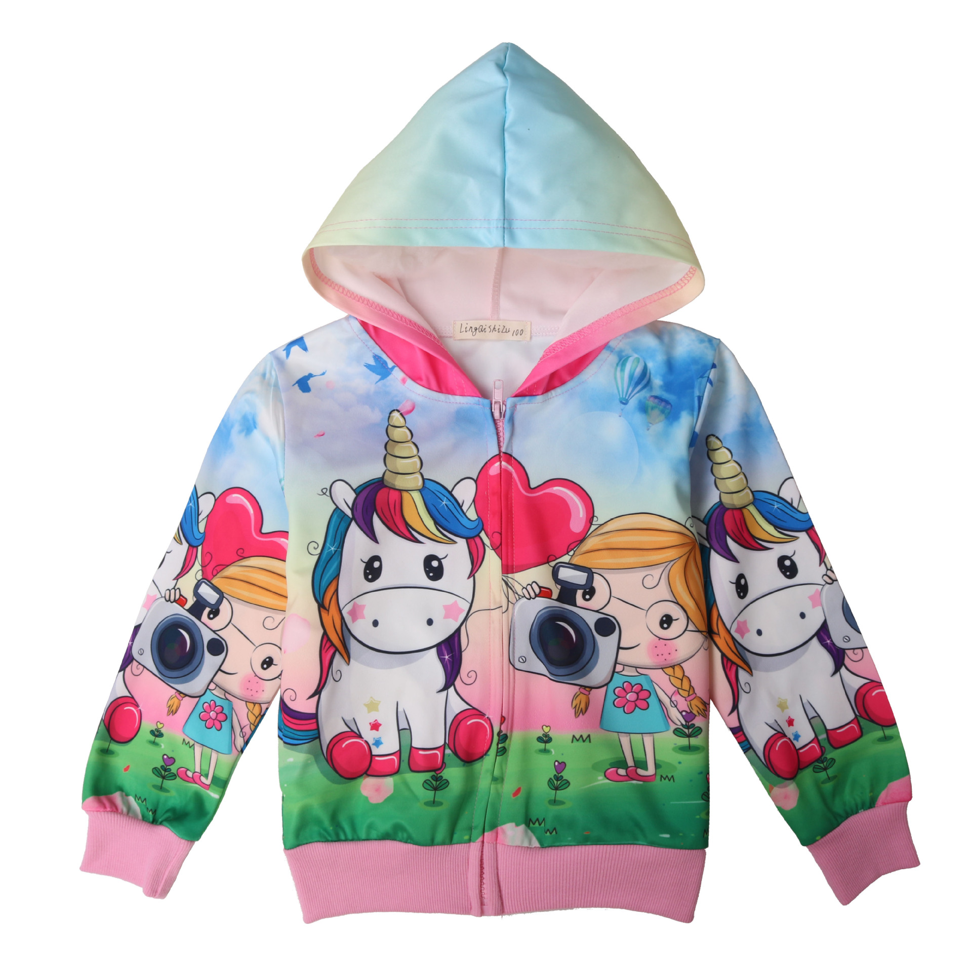 5a5b6e7581af Unicorn cartoon girls zipper cardigan rib girls fall paragraph coat baby girl  coat Unicorn coat baby kids jacket