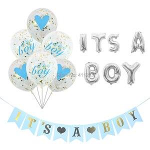 Image 2 - Sua uma menina balão seu um menino balão menino menina chuveiro banners bandeiras rosa azul confetes chuveiro do bebê balões decorações de festa