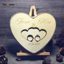 1pcs Custom Personalized Ring Bearer Pillow Wedding Decor Vintage Party Engagement Rustic Decoration Wooden Holder