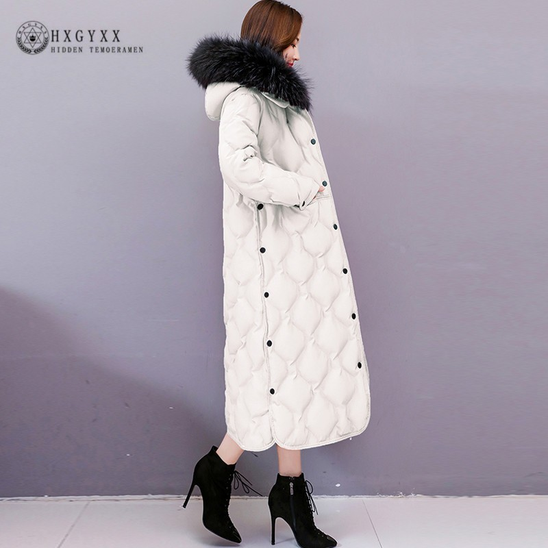 Plus Size Real Fur Collar Long Coat Winter Puffer Jacket Women   Parka   Female Korean Clothes Thick Warm Cotton Outwear 2019 Okd705