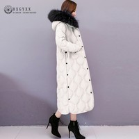 Plus Size Real Fur Collar Long Coat Winter Puffer Jacket Women Parka Female Korean Clothes Thick Warm Cotton Outwear 2019 Okd705