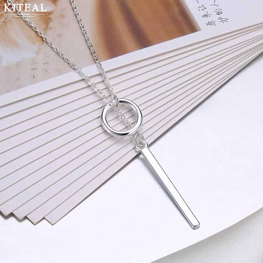 New 925 stamp Silver Jewelry Circle Strip stick Long Chain Necklace collares kolye bijoux femme women Choker Necklace S-N51