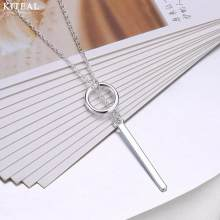 New 925 stamp Silver Jewelry Circle Strip stick Long Chain Necklace collares kolye bijoux femme women Choker Necklace S-N51(China)