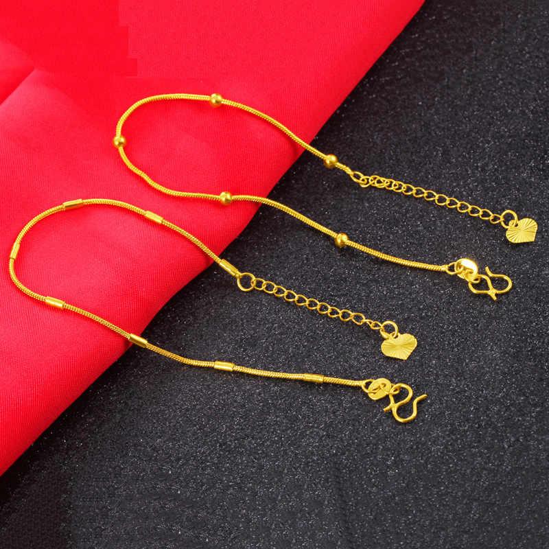 Cena fabryczna minimalizm moda delikatne mosiężne mały skręt 24 k złota bransoletki Fine Jewelry dla kobiet