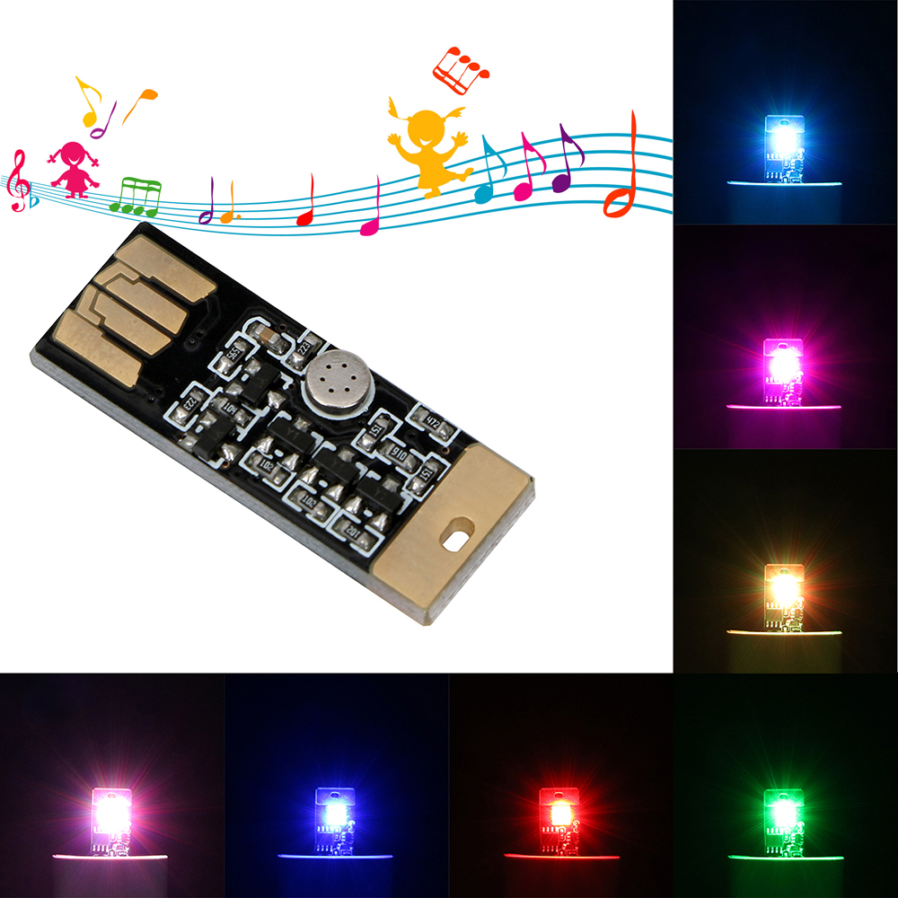 Car LED Atmosphere With USB Socket Light Car-styling Touch And Sound Control RGB Music Rhythm Light Decorative Lamp