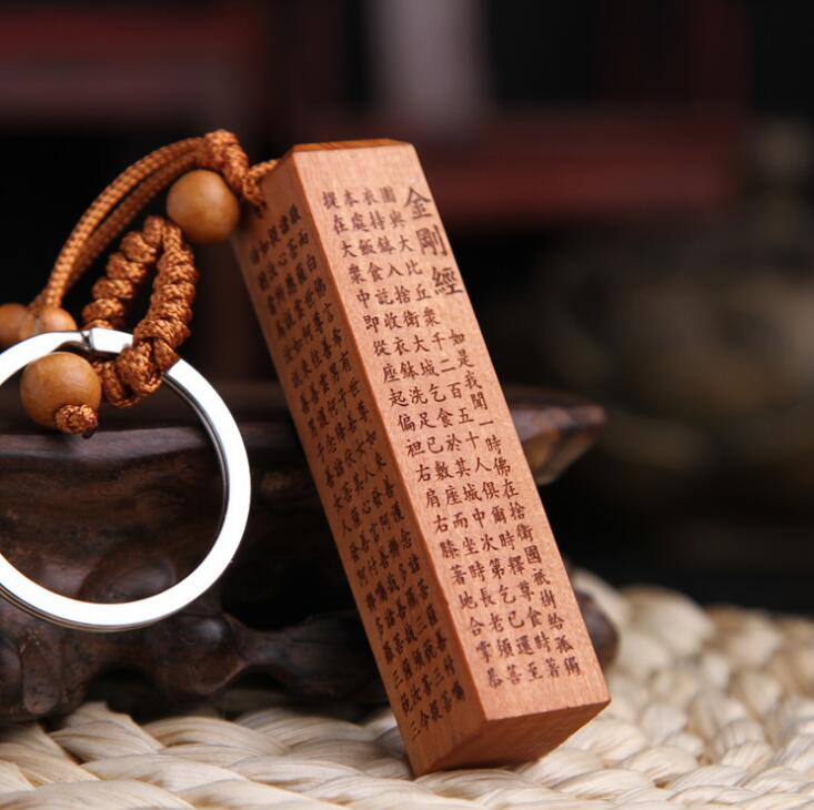 Chinese Peach Wood Carved Fang Zhang Pendant Buddhism Diamond Sutras Exquisite Car Key Chain Pendant