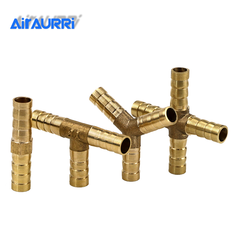 Brass Splicer Pipe Fitting E Y Shape 3 Way Hose Barb 4mm 6mm 8mm 10mm 12mm 16mm Copper Barbed Connector Joint Coupler Adapter