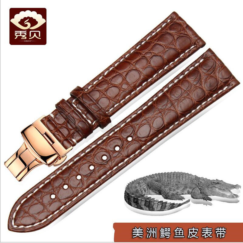 New Alligator Crocodile Leather Watchband Black Brown Stitching Strap Deployment Clasp 14 16 18 20 22