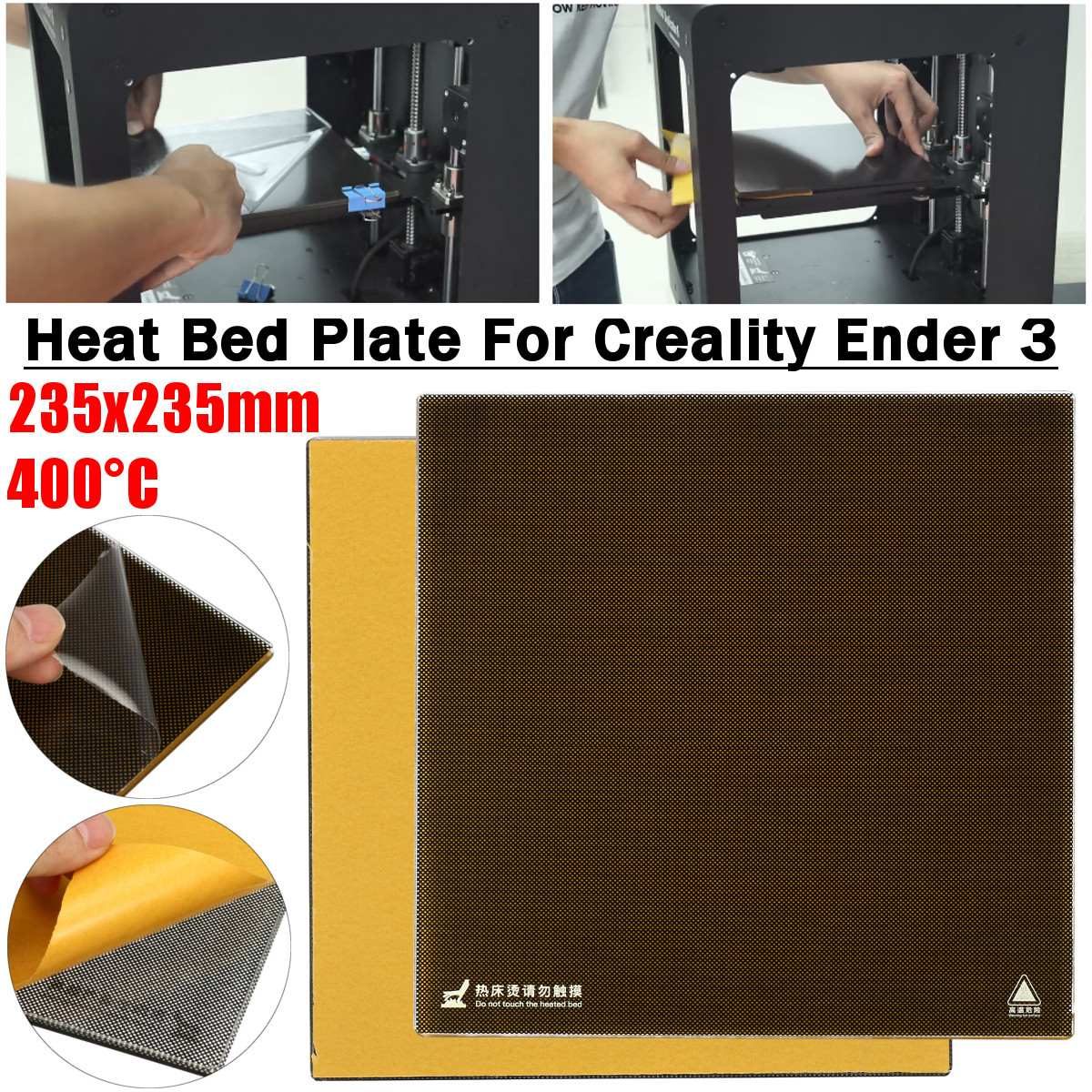 235 X 235mm 3D Printer Heat Hot Bed Sticker Coordinate Printed Surface Sticker Borosilicate Glass For Creality Ender 3 Printer
