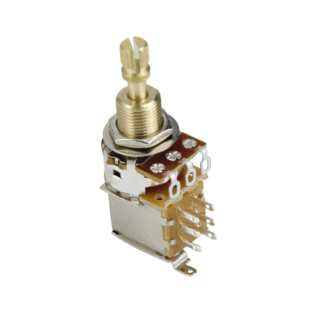 FLEOR 1PC potentiomètre de guitare potentiomètre poussoir A250K / B250K / A500K / B500K cuivre Long arbre fendu (pas de traction plus)
