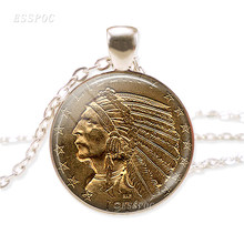 US 1914 Indian Head Coin Jewelry Indian Head Dress Coin Image Vintage US Coin Necklace American Coin Necklace(China)