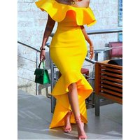 Women Maxi Dress Sexy Off Shoulder Fashion Yellow Ladies Strapless Asymmetric High Low Bodycon Evening Ruffles Party Long Dress