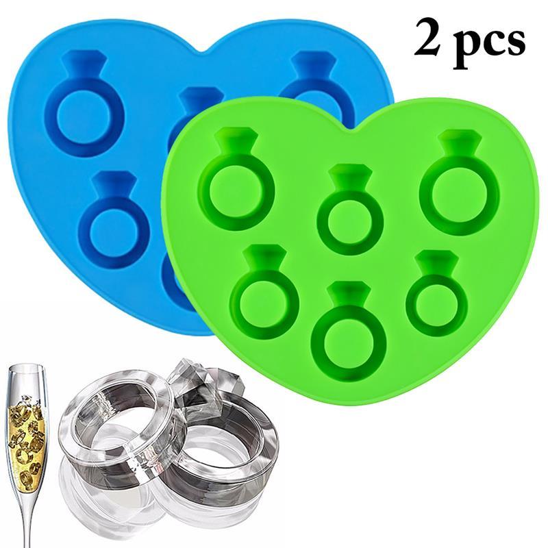 2 pièces moule à glace plateau diamant amour anneau bac à glaçons Style gel glace moule fabricant de crème glacée moule pour l'été chaud aléatoire