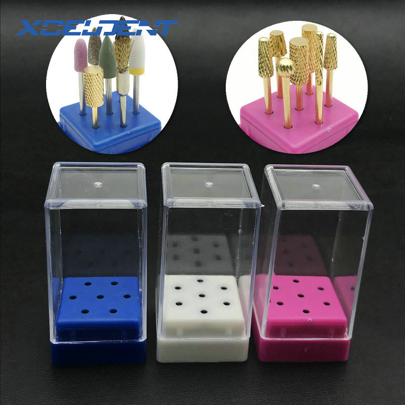 7 Holes Nail Drill Bit Holder Display Standing With Cover Storage Box Dental HP Burs Holder Dental Storage Box