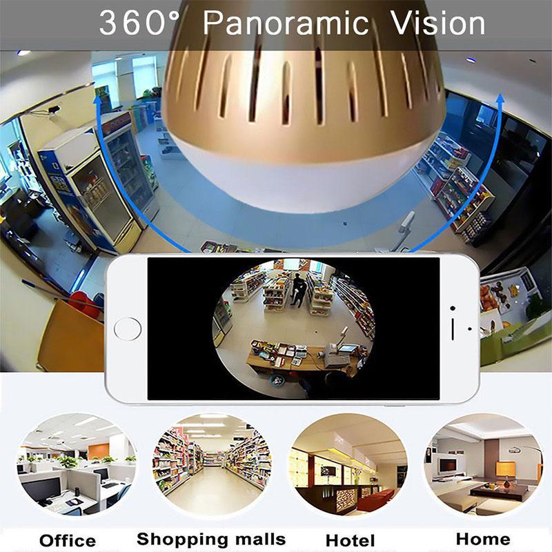 HD 1080P 360 ° Luz Bulbo Câmera Panorâmica IP Wi-fi Câmera de Vídeo de Segurança Em Casa