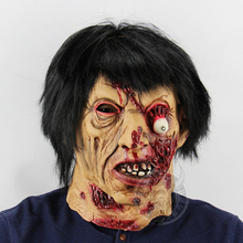 Adult Scary Zombie Mask Cosplay Costume Black Hair Latex Props Halloween For