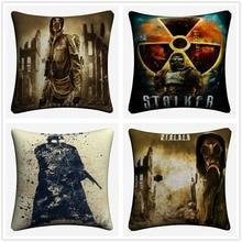 Stalker Figure Game Cotton Linen Cushion Cover 45x45cm Decorative Pillow Case For Sofa Chair Pillow Cover Home Decor Almofada цены