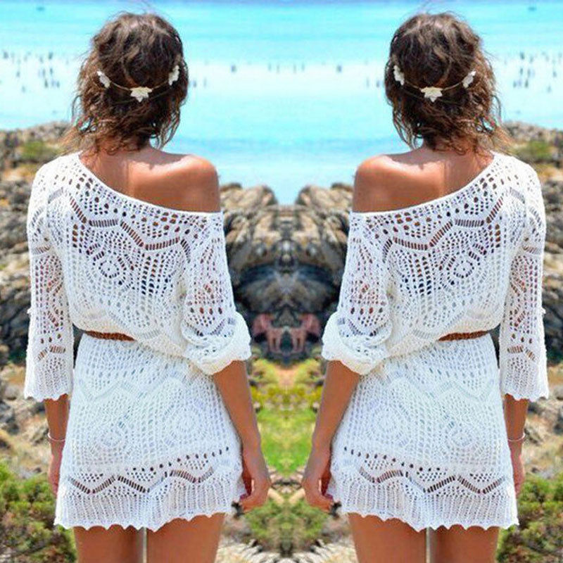<font><b>Women</b></font> Lace Crochet Bikini Cover Ups Swimwear Bathing Suit <font><b>Fashion</b></font> <font><b>Summer</b></font> Swimwear <font><b>Sexy</b></font> <font><b>Beach</b></font> <font><b>Dress</b></font> Beachwear No Belt image