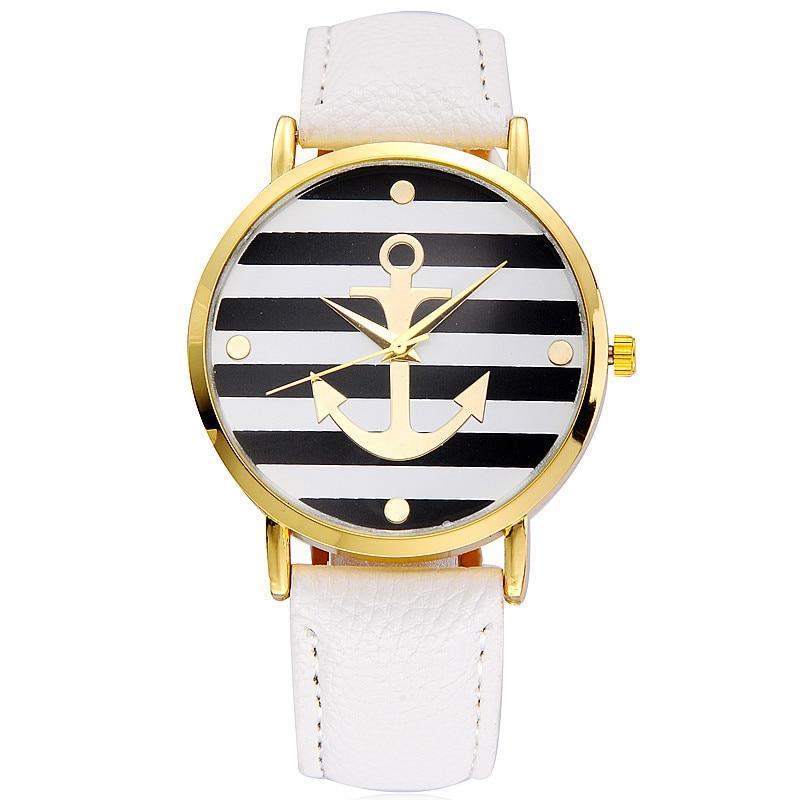 Fashion 2018 Boat Anchor Watch Women Leather Quartz Watches Geneva White Casual Woman Watches Female Clock Relogio Feminino