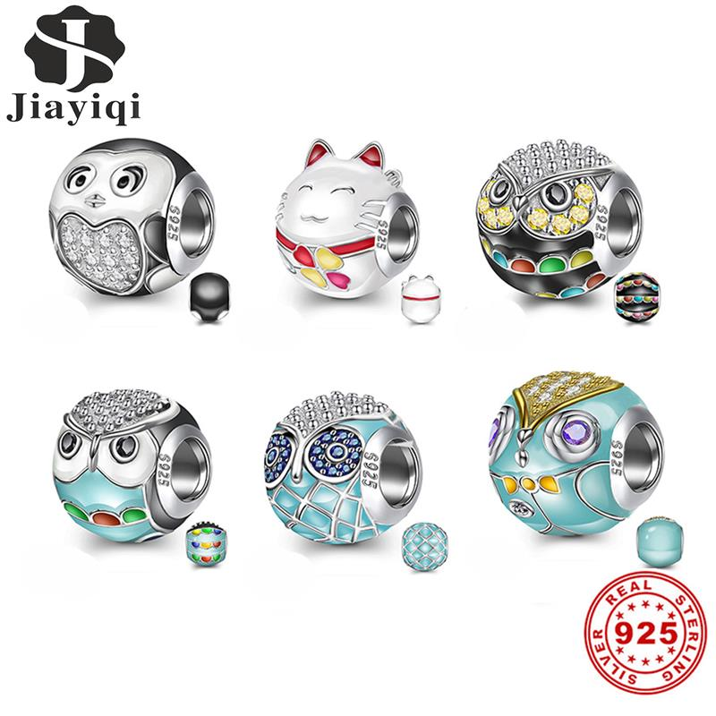 Jiayiqi Original 925 Sterling Silver Beads fit Bracelet DIY Jewelry Making Lovely Animal World Owl Cat Charms Women Girl Gifts|Beads|   - AliExpress