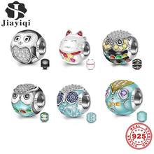 Jiayiqi Original 925 Sterling Silver Beads fit Bracelet DIY Jewelry Making Lovely Animal World Owl Cat Charms Women Girl Gifts(China)