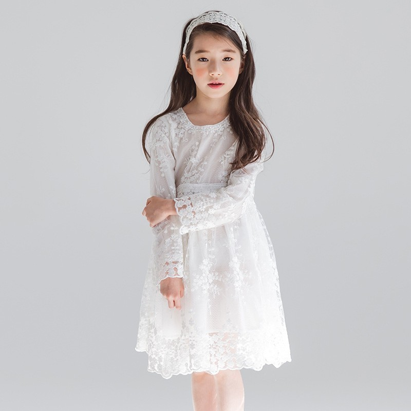 1d118e75508fc Lace Teen Girl Princess Dress White Spring 2019 Long Sleeve Party Dresses  Kids Wedding Floral Knee Length Children Clothing