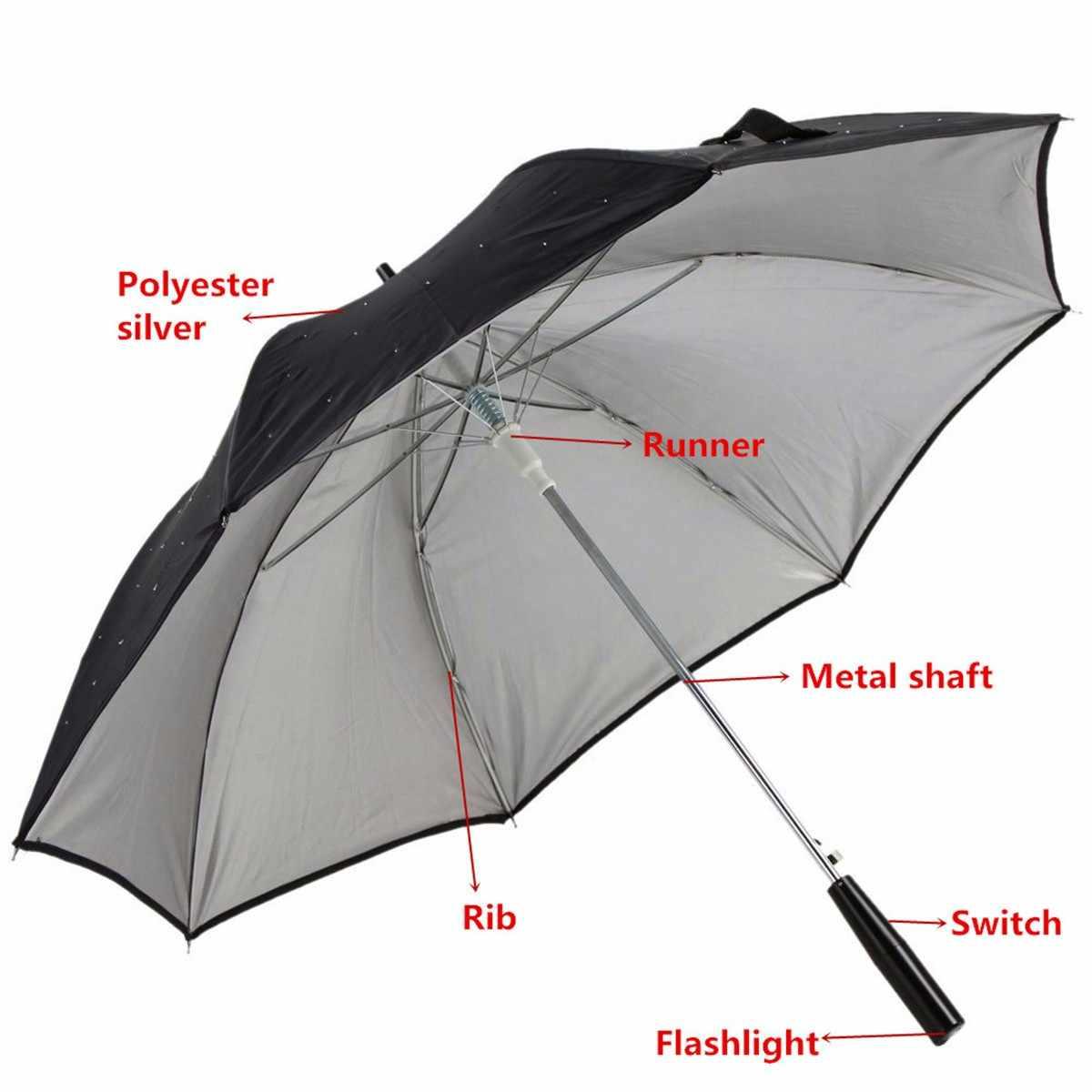 23 بوصة في الهواء الطلق بارد طويل مقبض الصمام اللمعان المطر مظلة حماية يلة الأزياء هدية كبيرة مقبض مستقيم فلاش المظلة