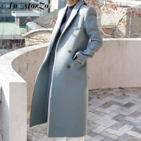 Casual Fashion Women Long Woolen Coat Warm Slim Women's Jacket Solid Double Breasted Cashmere Coat and Jacket